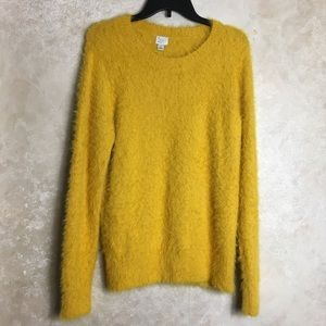 Mustard Yellow Sweater Large Fuzzy Eyelash